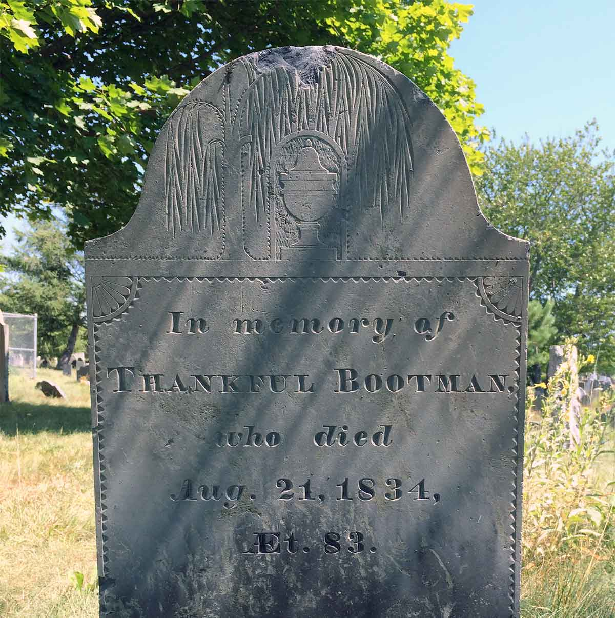 Thankful Bootman slate headstone