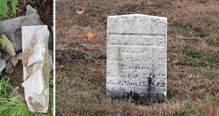 Charles F. Ropes footstone and headstone