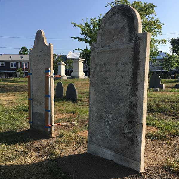2 conserved marble headstones