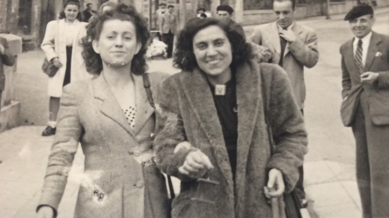 Subjects of Gina Herrmann's research, after their liberation from a Nazi camp
