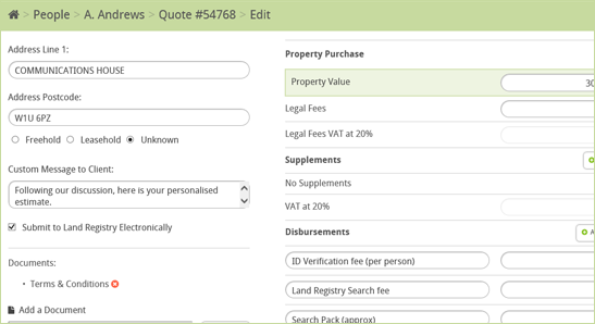 Conveyancing Calculator Editing Options