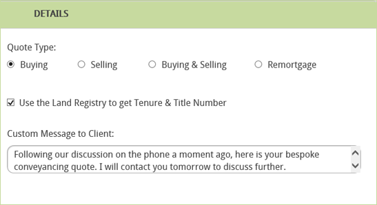 Conveyancing Calculator Personalised message to client