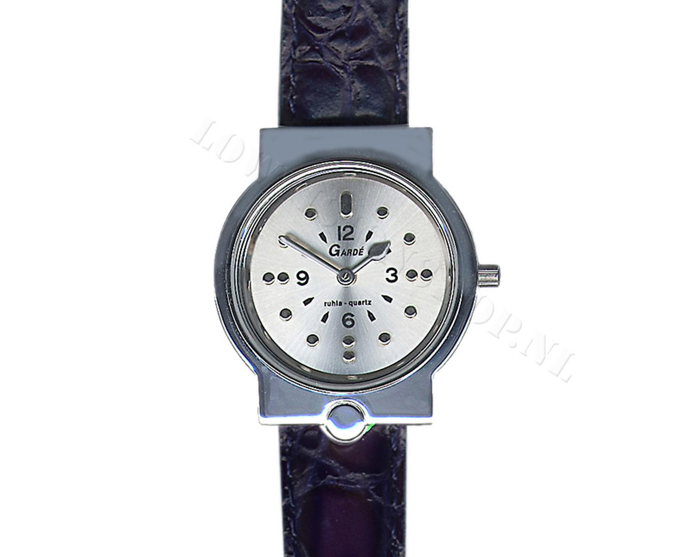 braille horloge heren zwart lederen band