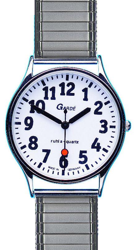 slechtzienden horloge met rekband zilver