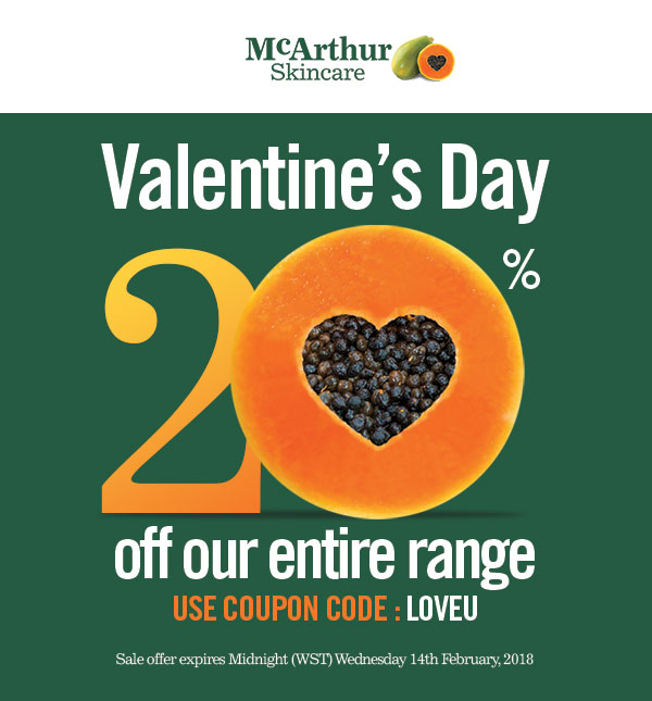 mcarthur 20% off valentine day