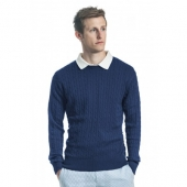 NAVY MEN'S CABLE KNIT SWEATER - PIMA Cotton for for Preppy Fall 2013