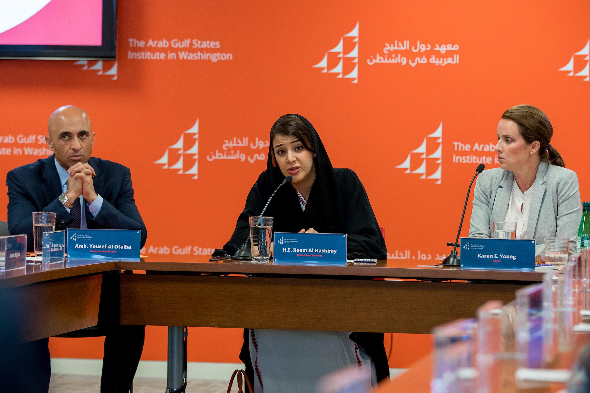 Yousef Al Otaiba, H.E. Reem Al Hashimy, Karen E. Young
