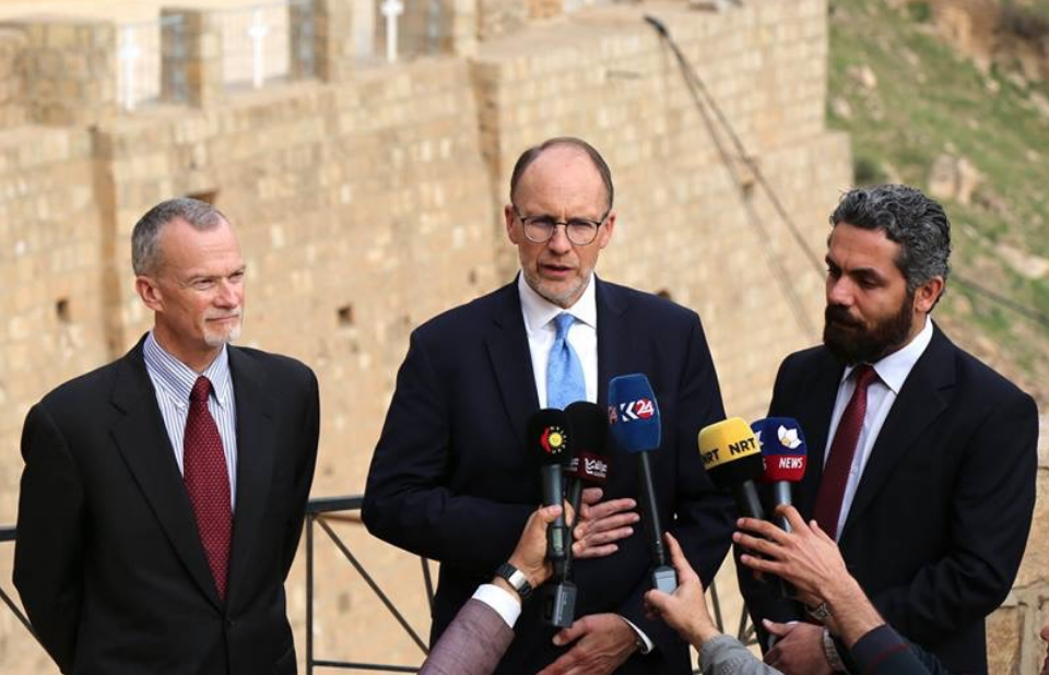 Ambassador Douglas A. Silliman speaks at a press conference in Iraq's Nineveh province.