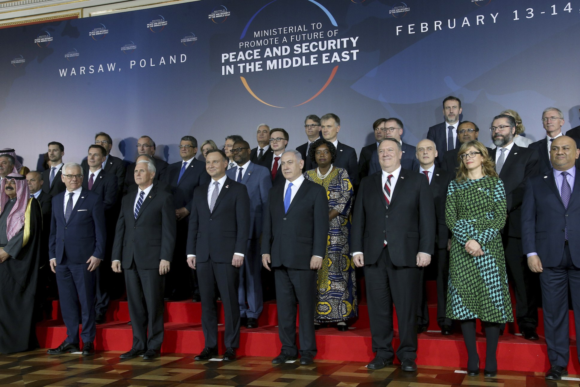 Warsaw Ministerial Highlights Challenges Facing Anti-Iran Coalition A group photograph of attendees at the U.S.-organized