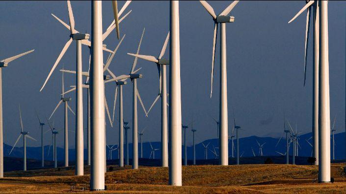 A wind turbine farm near Glenrock, Wyoming (AP Photo/Matt Young)