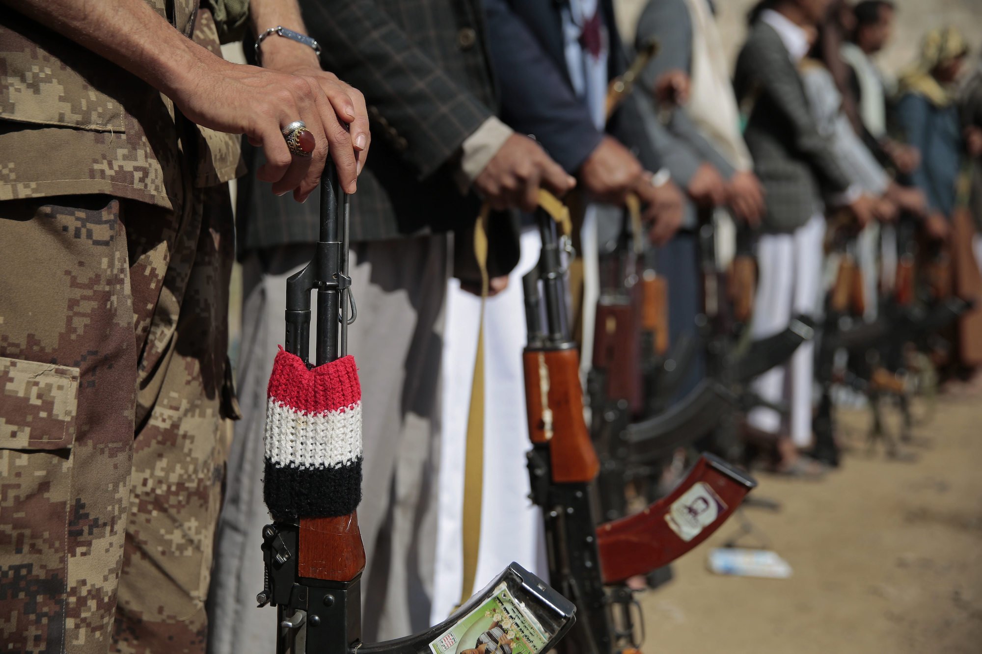 Tribesmen loyal to Houthi rebels attend a gathering in Sanaa Dec. 13, 2018 to show their support for the ongoing peace talks in Sweden addressing the war in Yemen. (AP Photo/Hani Mohammed)