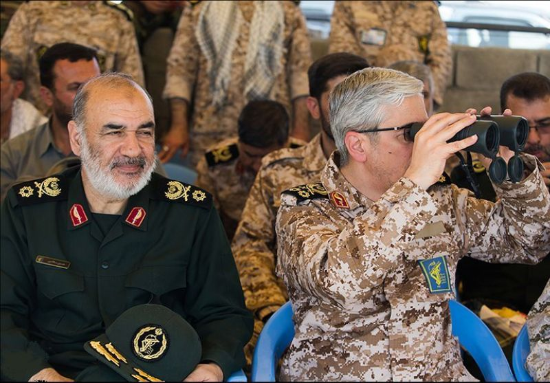 The newly appointed head of the Islamic Revolutionary Guard Corps Major-General Hossein Salami (left)