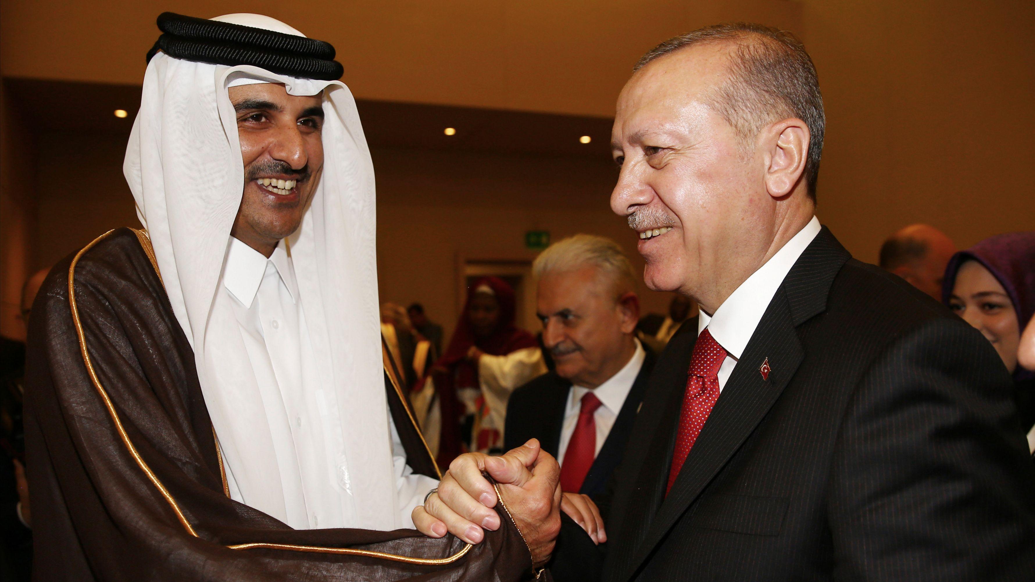 Turkish President Recep Tayyip Erdogan, right, and Qatari Emir Tamim bin Hamad al-Thani speak during an extraordinary summit of the Organization of Islamic Cooperation, in Istanbul, Turkey, May 18, 2018. (Presidential Press Service via AP)
