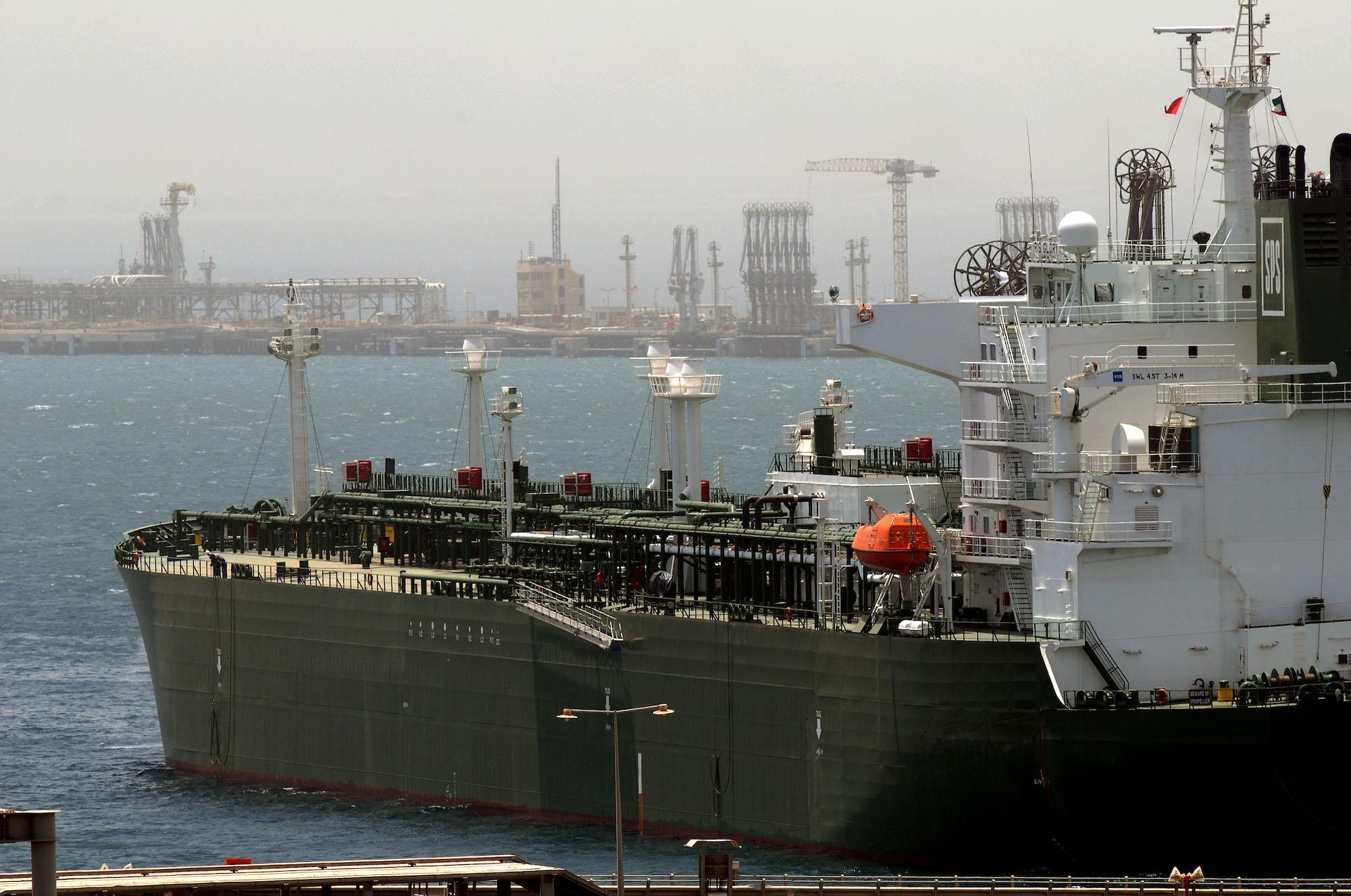 An oil tanker loading crude oil at Mina Al Ahmadi Port in Kuwait (AP Photo/Gustavo Ferrari)