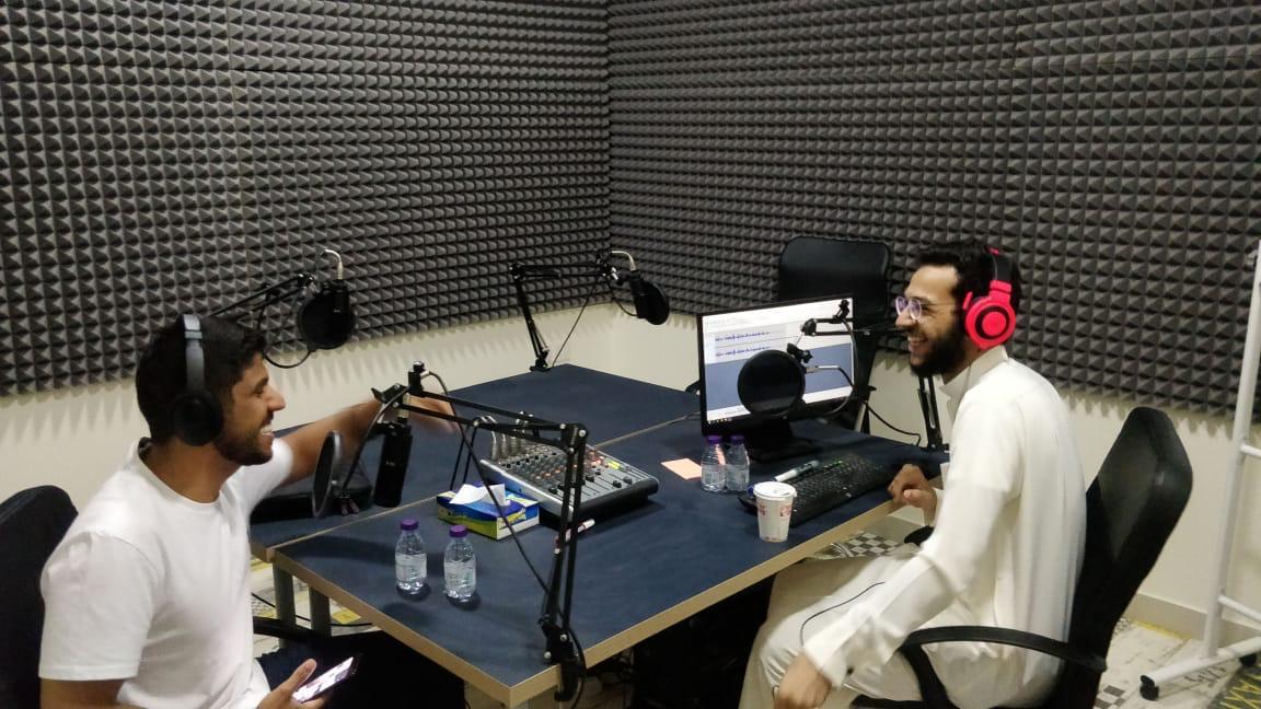 Recording an episode for the podcast al-Jabl (Saud al-Badeea)