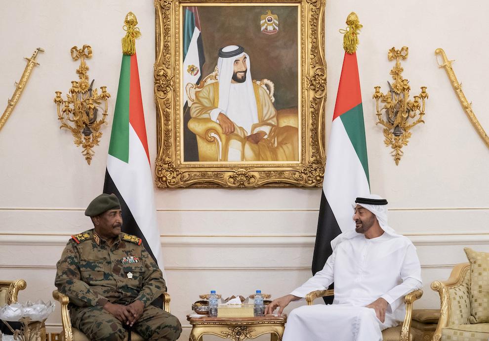 Abu Dhabi Crown Prince Mohammed bin Zayed al-Nahyan, right, receives Lt. Gen. Abdel Fattah al-Burhan, head of Sudan's Transitional Military Council, in Abu Dhabi, United Arab Emirates, May 26. (Mohamed Al Hammadi/Ministry of Presidential Affairs via AP)