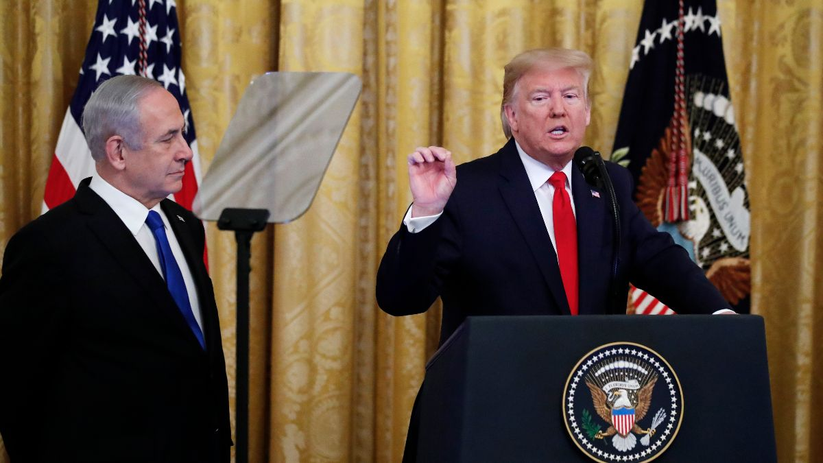 President Donald J. Trump, joined by Israeli Prime Minister Benjamin Netanyahu, announces an Israeli-Palestinian peace plan at the White House in Washington, DC, Jan. 28. (AP Photo/Alex Brandon)