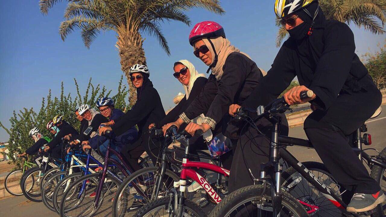 Women in Jeddah riding bikes