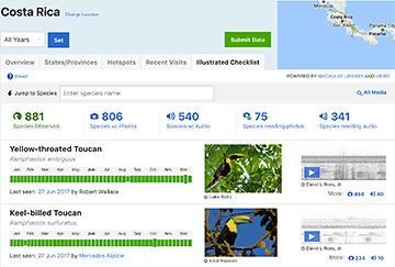 Illustrated eBird checklist screen