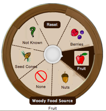 Setting the Woody Food Source characteristic in YardMap.