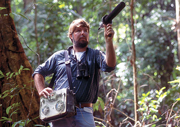 Ted Parker recording in Guyana