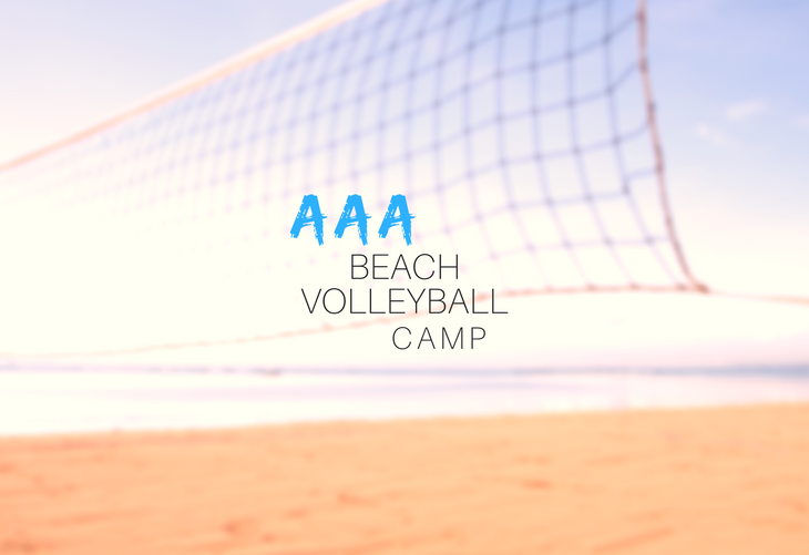 "Image of beach with volleyball net and text reading ""AAA Beach Volleyball Camp"""