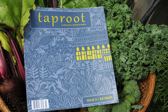 Taproot Magazine Issue 3 in a bowl of greens