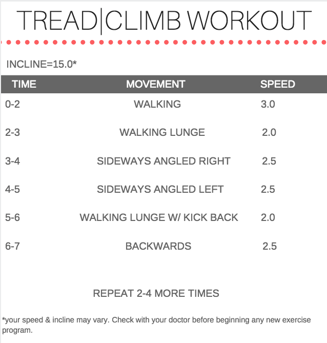 Treadmill CLIMB Workout for Warming Up or Cardio