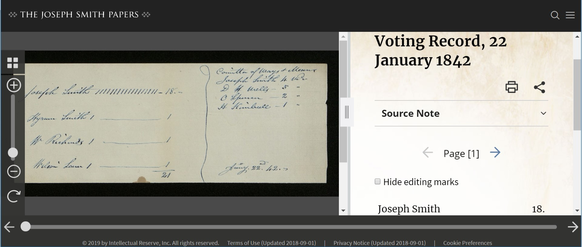 Voting Record, 22 January 1842