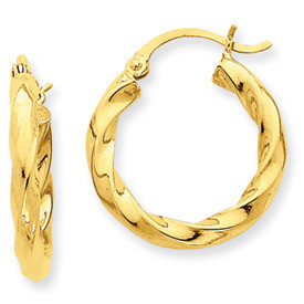Twisted Taffy Polished Yellow Gold Medium Hoop Earrings- Length:  19mm, 25mm, 29mm Width: 3mm