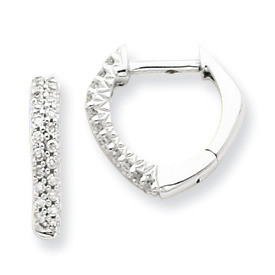 Heart Shaped Diamond Hoop Earrings 14k White Gold: Diamond Weight and Length: 0.15ctw - 12mm; 0.25ctw - 13mm Width: 3mm