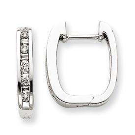 Smooth Square Diamond Hinged Hoop Earrings 14k White Gold  Width: 3mm