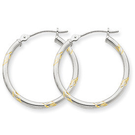 Empress White Gold Hoop Earrings with Rhodium Accents: Length: 14mm, 20mm, 24mm, Width: 2mm
