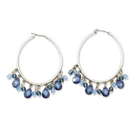 Silver Light & Dark Blue Crystals Hoop Earrings  Length: 55mm
