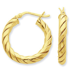 Open Turned Twist Gold-Flashed Sterling Silver Hoop Earrings: Length: 25mm, 35mm, 45mm Width: 4mm