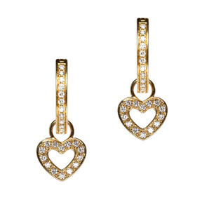 Classic Heart Charms 18K Yellow Gold: Diamond Weight: 0.15ctw