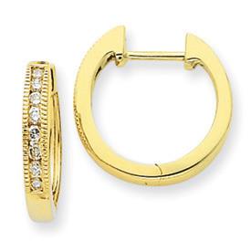 Radiant Diamond Hinged Hoop Earrings 14k Yellow Gold: Width: 3mm