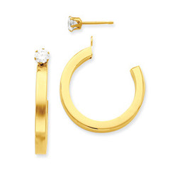 Polished Hoop Earring Jacket with CZ Stud 14k Yellow Gold-  Length: 24mm, Width: 3mm