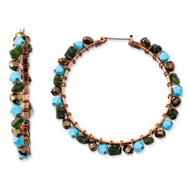 Coppertone Aqua & Green Crystal Beaded Hoop Earrings: Length: 52mm