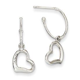 Heart Charms & Hoop Earrings 14k White Gold:  Total Length: 25mm