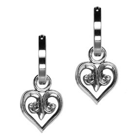 Silver Floral Heart Charm: Size: 12mm