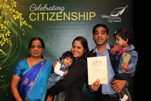 Mary, Nila, Liya and Nevah (left to right) celebrate with Jyothish Joy, who became an Australian citizen.