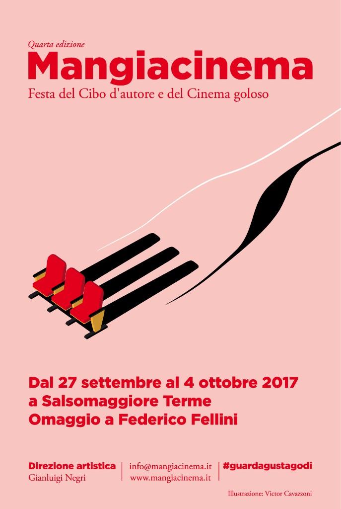 Invito a Mangiacinema 2017 - Omaggio a Federico Fellini (Grafica di Victor Cavazzoni)