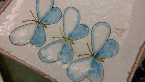 blue butterflies on tile