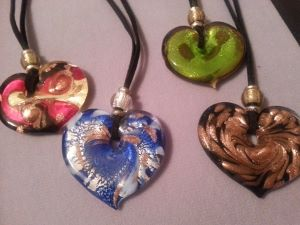 Murano heart necklaces