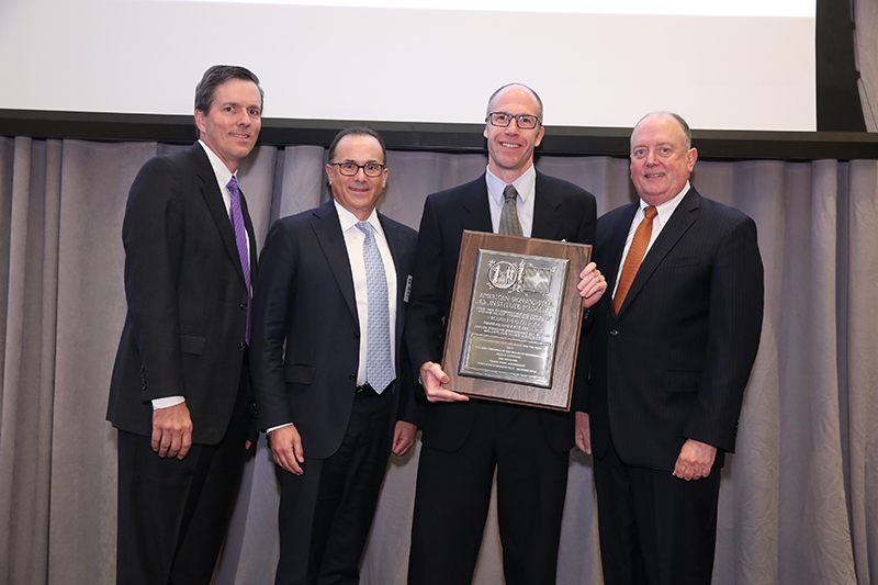 (L-R) Roger Newport, Chairman, AISI, Chief Executive Officer, AK Steel Corporation; Alan Kestenbaum, Executive Chairman, Stelco Inc.; Chad Cathcart, Manager, Hot Strip Mill Quality Assurance, Stelco Inc.; Thomas J. Gibson, President and CEO, AISI