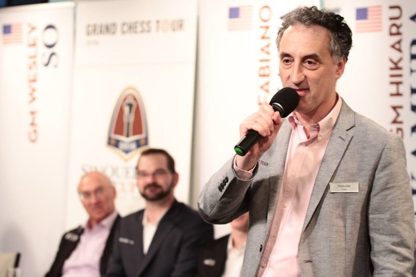 Malcolm Pein announcing the wildcard at the closing ceremony of the Sinquefield Cup (Photo: Spectrum Studios)