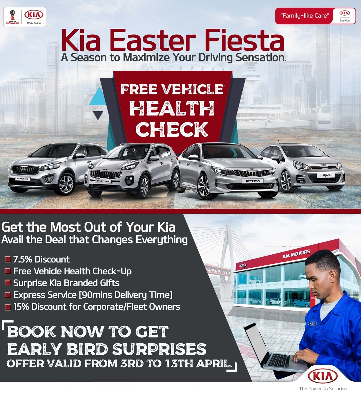 Kia Easter Fiesta! Come For Your FREE Vehicle Health Check, Surprise Gifts & More... - Brand Spur