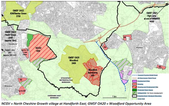 North Cheshire Growth village at Handforth East map
