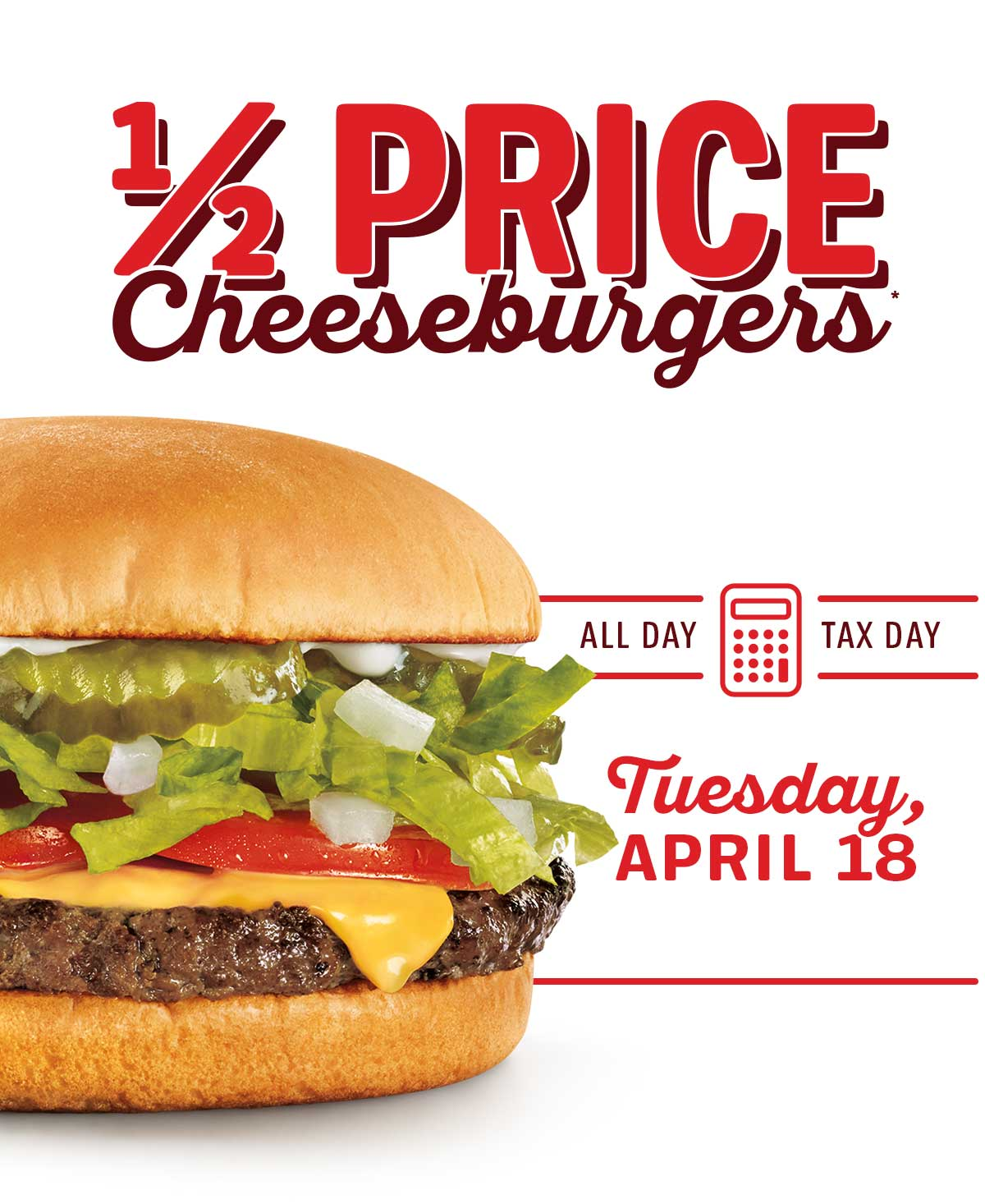 1/2 Price Cheesburgers!
